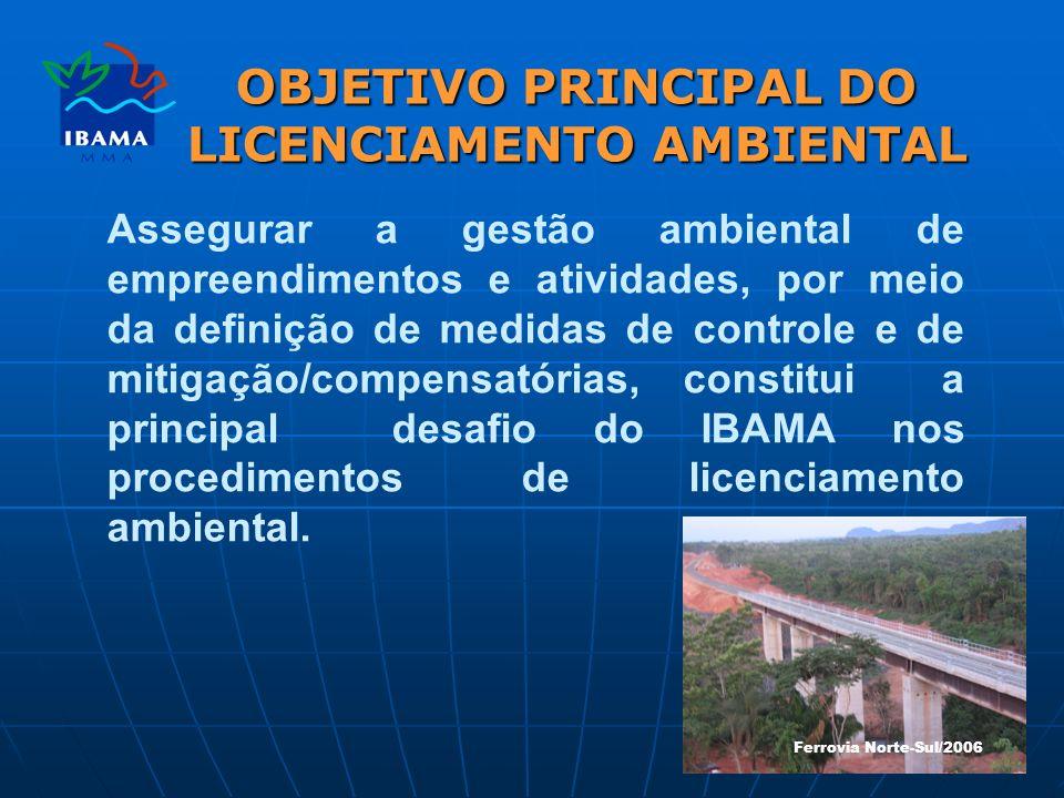 OBJETIVO PRINCIPAL DO LICENCIAMENTO AMBIENTAL Assegurar a gestão ambiental de empreendimentos e atividades, por meio da definição de medidas de controle e de mitigação/compensatórias, constitui a principal desafio do IBAMA nos procedimentos de licenciamento ambiental.