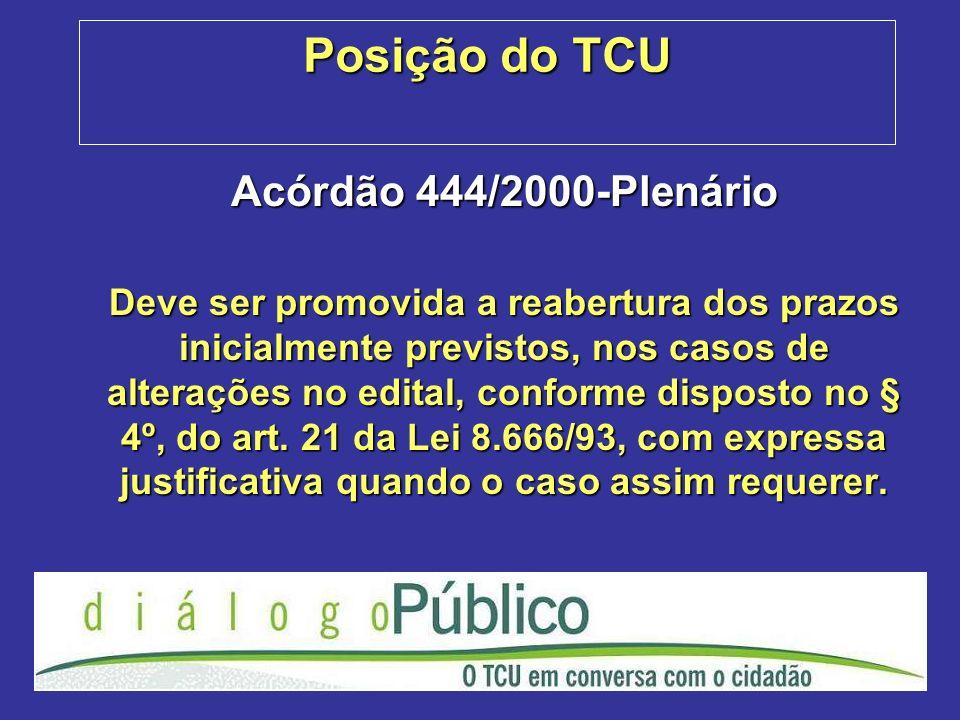 Posição do TCU Acórdão 444/2000-Plenário Deve ser promovida a reabertura dos prazos inicialmente previstos, nos casos de alterações no edital, conform