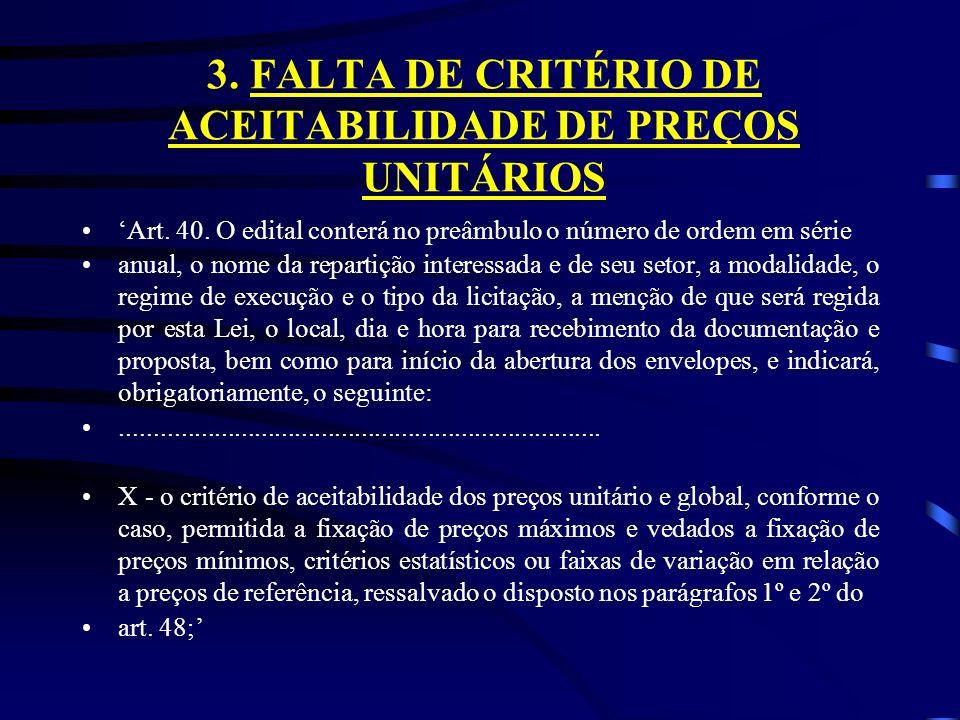 3. FALTA DE CRITÉRIO DE ACEITABILIDADE DE PREÇOS UNITÁRIOS Art.
