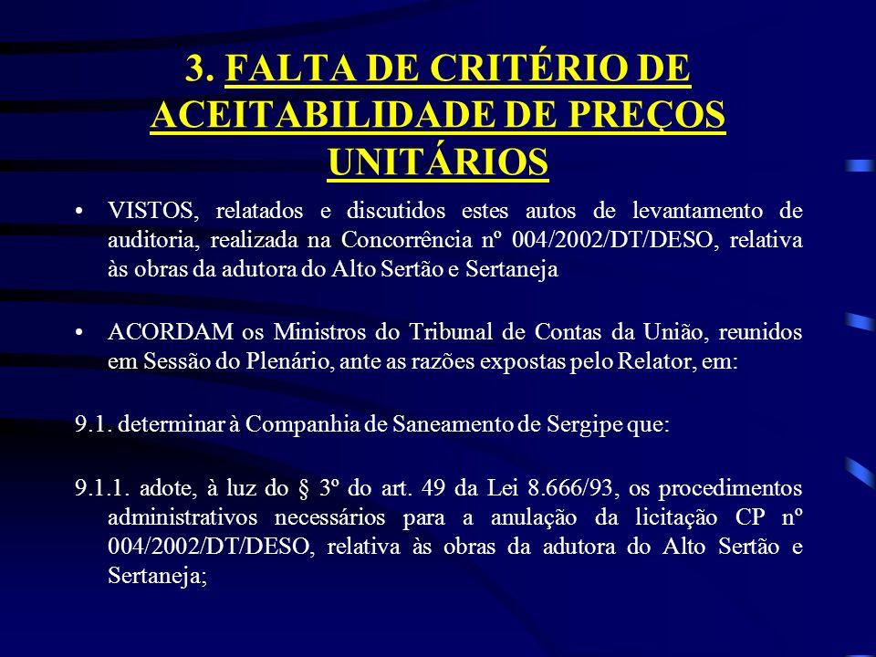 3. FALTA DE CRITÉRIO DE ACEITABILIDADE DE PREÇOS UNITÁRIOS VISTOS, relatados e discutidos estes autos de levantamento de auditoria, realizada na Conco