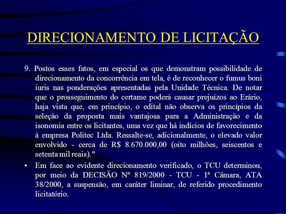DIRECIONAMENTO DE LICITAÇÃO 9.