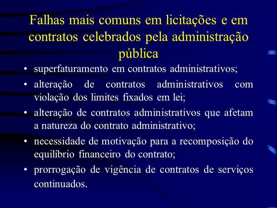 Falhas mais comuns em licitações e em contratos celebrados pela administração pública superfaturamento em contratos administrativos; alteração de contratos administrativos com violação dos limites fixados em lei; alteração de contratos administrativos que afetam a natureza do contrato administrativo; necessidade de motivação para a recomposição do equilíbrio financeiro do contrato; prorrogação de vigência de contratos de serviços continuados.
