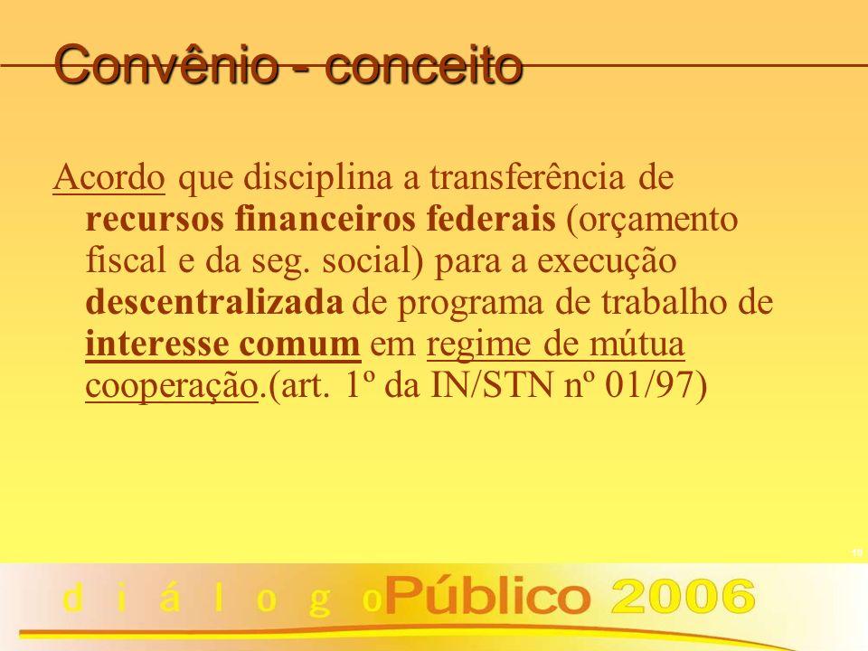 10 Convênio - conceito Acordo que disciplina a transferência de recursos financeiros federais (orçamento fiscal e da seg. social) para a execução desc
