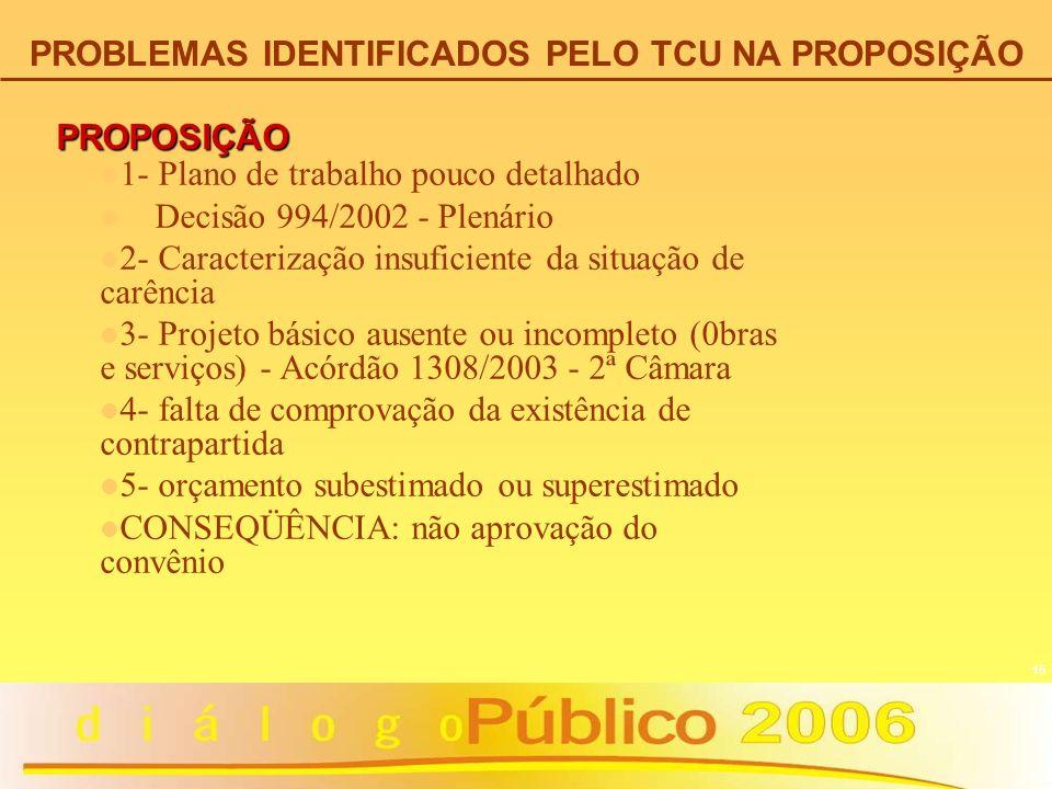 15 PROPOSIÇÃO 1- Plano de trabalho pouco detalhado Decisão 994/2002 - Plenário 2- Caracterização insuficiente da situação de carência 3- Projeto básic