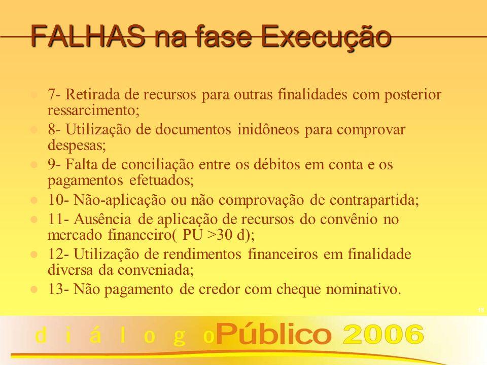 18 FALHAS na fase Execução 7- Retirada de recursos para outras finalidades com posterior ressarcimento; 8- Utilização de documentos inidôneos para com