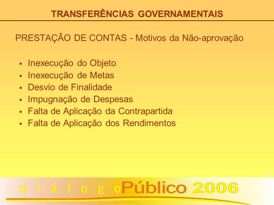 22 PRESTAÇÃO DE CONTAS - Motivos da Não-aprovação Inexecução do Objeto Inexecução de Metas Desvio de Finalidade Impugnação de Despesas Falta de Aplica