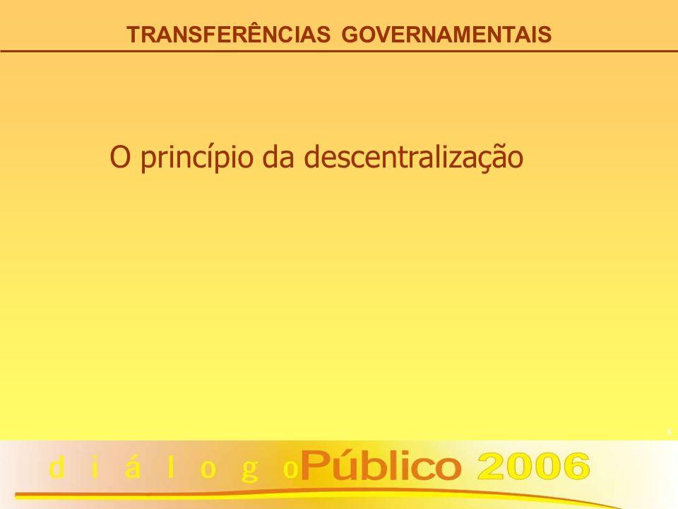5 TRANSFERÊNCIAS GOVERNAMENTAIS O princípio da descentralização