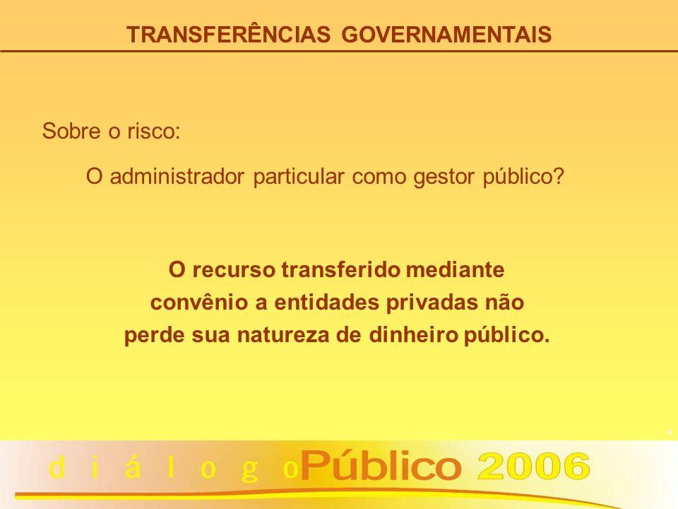 6 O administrador particular como gestor público? O recurso transferido mediante convênio a entidades privadas não perde sua natureza de dinheiro públ