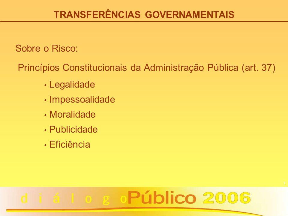 7 Princípios Constitucionais da Administração Pública (art. 37) Legalidade Impessoalidade Moralidade Publicidade Eficiência Sobre o Risco: TRANSFERÊNC