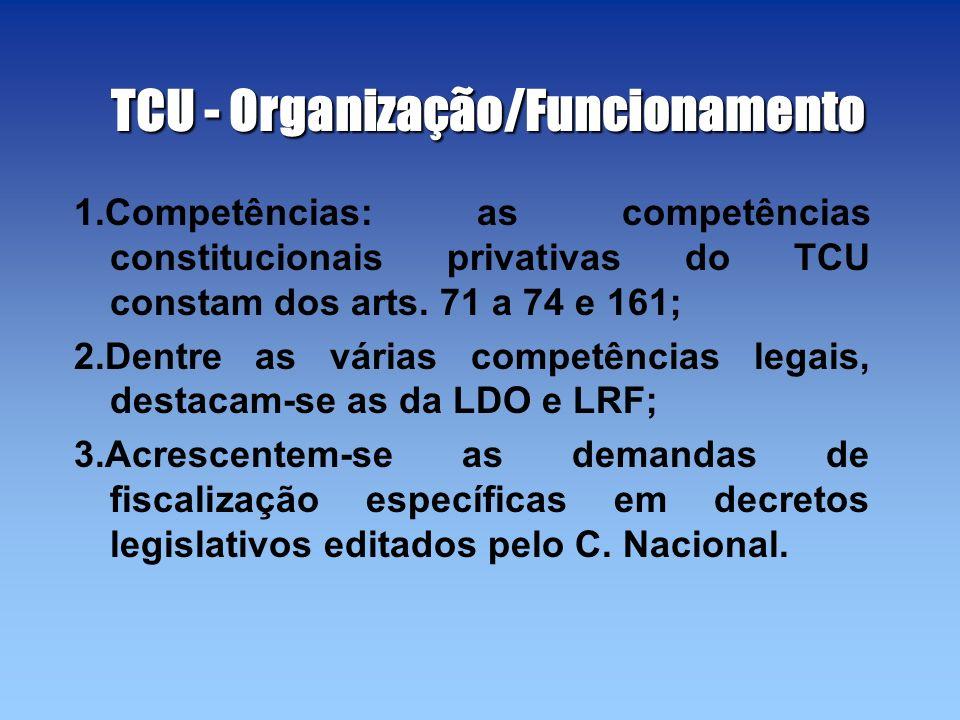 TCU - Organização/Funcionamento 1.Competências: as competências constitucionais privativas do TCU constam dos arts. 71 a 74 e 161; 2.Dentre as várias