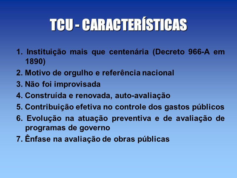 TCU - CARACTERÍSTICAS 1. Instituição mais que centenária (Decreto 966-A em 1890) 2. Motivo de orgulho e referência nacional 3. Não foi improvisada 4.