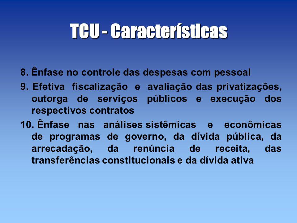 TCU - Características 8. Ênfase no controle das despesas com pessoal 9. Efetiva fiscalização e avaliação das privatizações, outorga de serviços públic