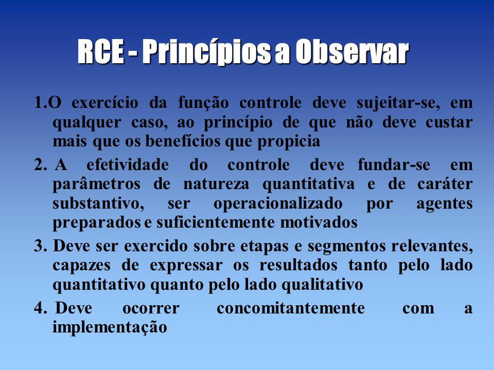 RCE - Princípios a Observar 1.O exercício da função controle deve sujeitar-se, em qualquer caso, ao princípio de que não deve custar mais que os benef