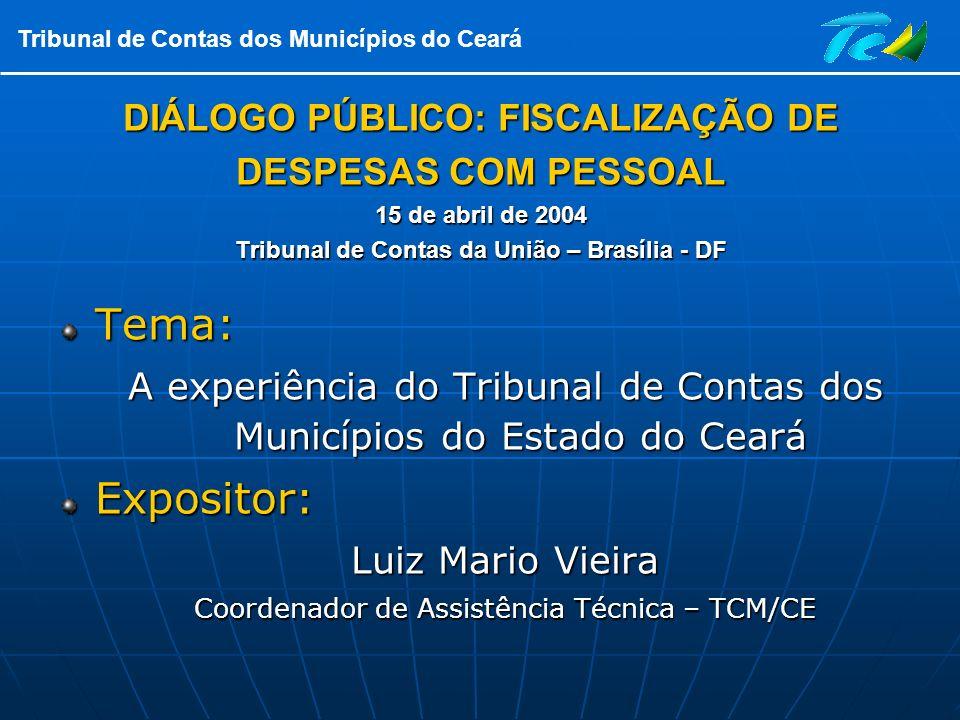 Tribunal de Contas dos Municípios do Ceará DIÁLOGO PÚBLICO: FISCALIZAÇÃO DE DESPESAS COM PESSOAL 15 de abril de 2004 Tribunal de Contas da União – Bra
