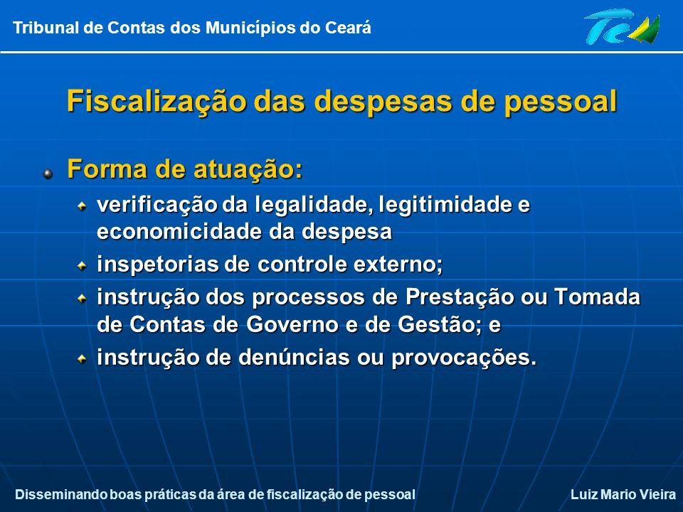 Disseminando boas práticas da área de fiscalização de pessoalLuiz Mario Vieira Tribunal de Contas dos Municípios do Ceará Fiscalização das despesas de