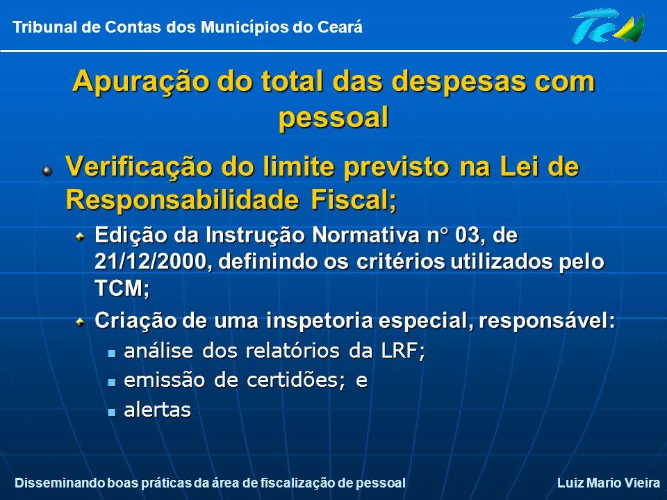 Disseminando boas práticas da área de fiscalização de pessoalLuiz Mario Vieira Tribunal de Contas dos Municípios do Ceará Apuração do total das despes