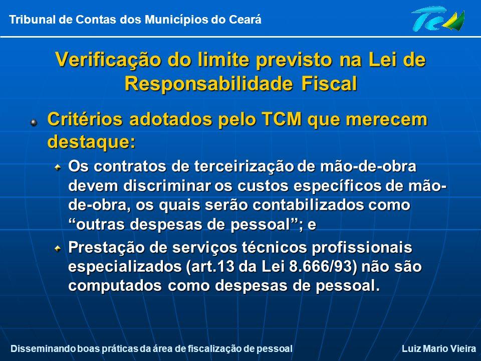 Disseminando boas práticas da área de fiscalização de pessoalLuiz Mario Vieira Tribunal de Contas dos Municípios do Ceará Verificação do limite previs
