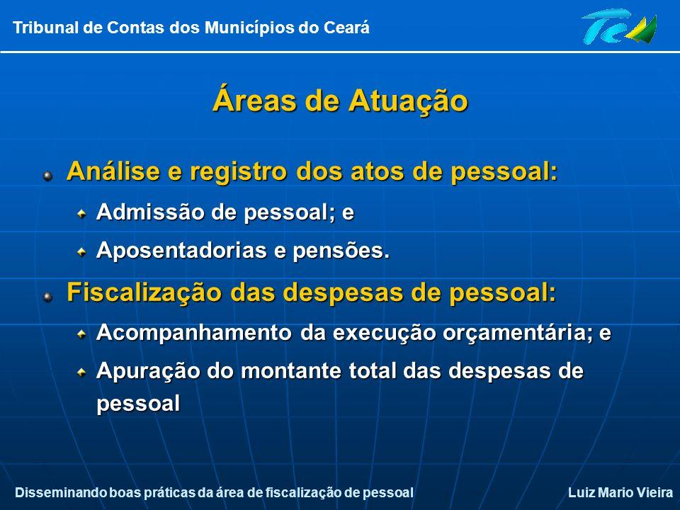 Disseminando boas práticas da área de fiscalização de pessoalLuiz Mario Vieira Tribunal de Contas dos Municípios do Ceará Áreas de Atuação Análise e r