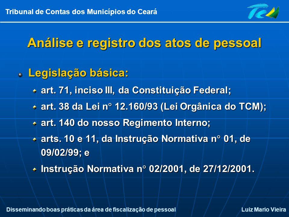 Disseminando boas práticas da área de fiscalização de pessoalLuiz Mario Vieira Tribunal de Contas dos Municípios do Ceará Análise e registro dos atos