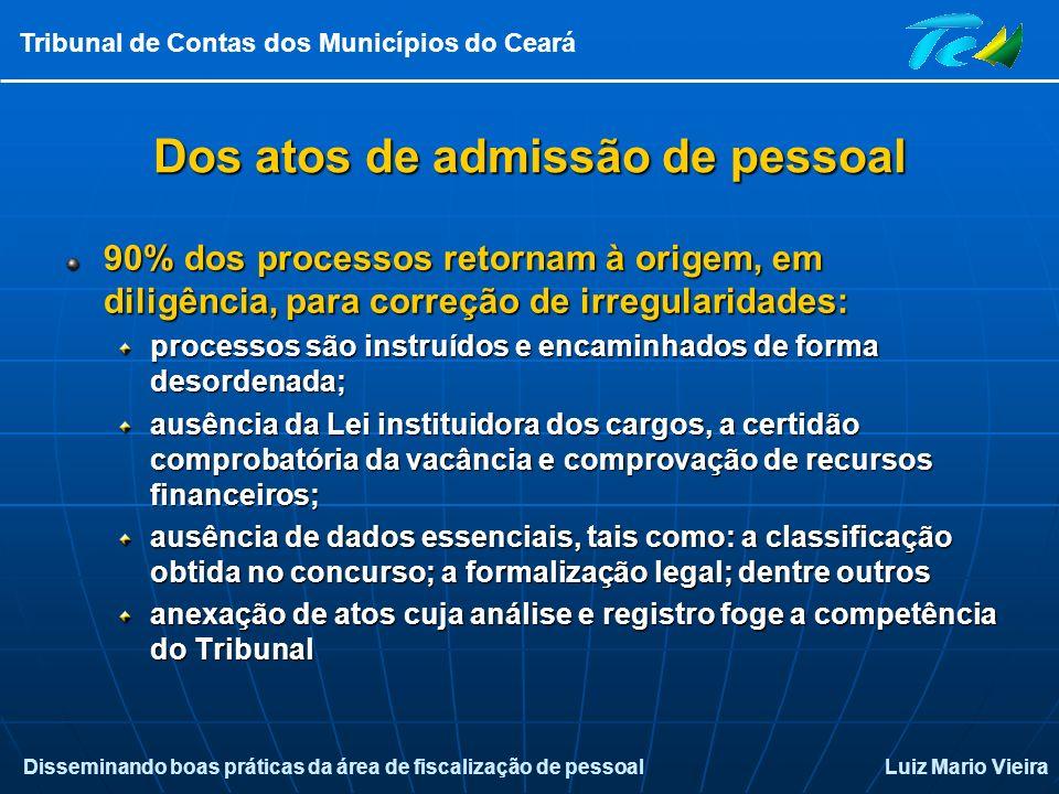 Disseminando boas práticas da área de fiscalização de pessoalLuiz Mario Vieira Tribunal de Contas dos Municípios do Ceará Dos atos de admissão de pess