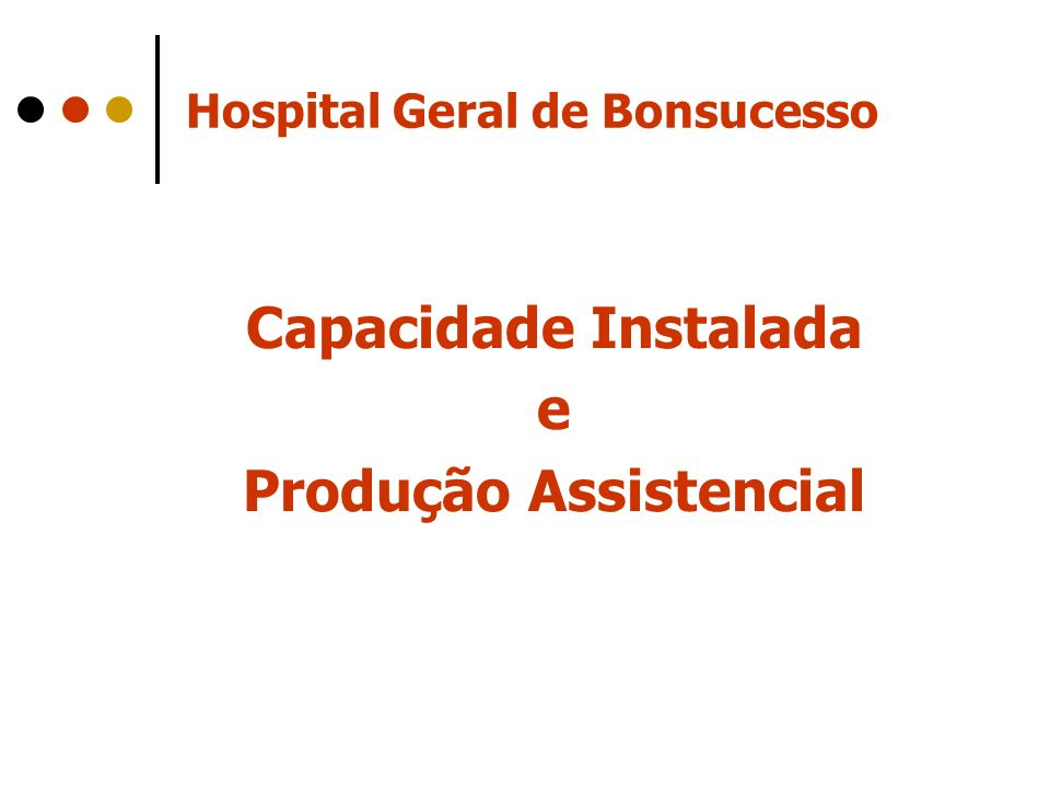 Hospital Geral de Bonsucesso Capacidade Instalada e Produção Assistencial
