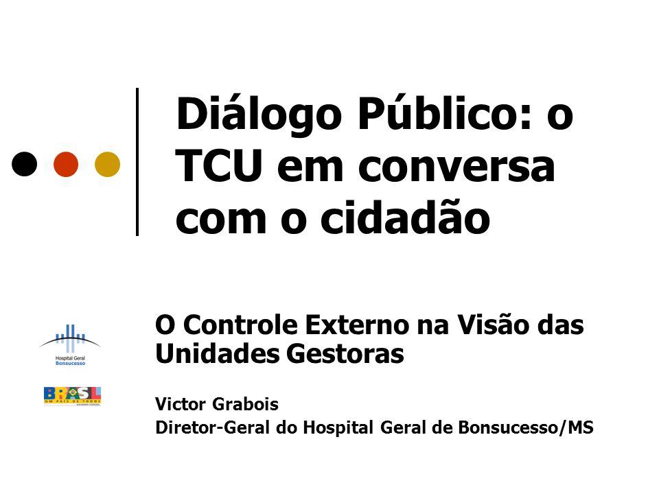 Diálogo Público: o TCU em conversa com o cidadão O Controle Externo na Visão das Unidades Gestoras Victor Grabois Diretor-Geral do Hospital Geral de B