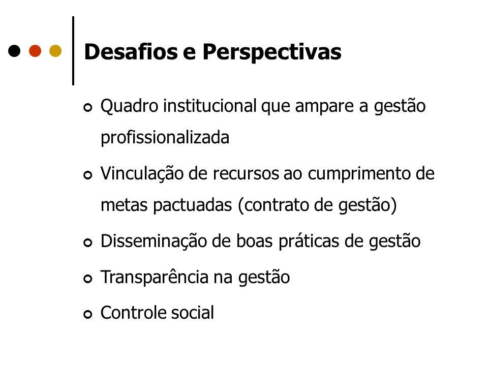 Desafios e Perspectivas Quadro institucional que ampare a gestão profissionalizada Vinculação de recursos ao cumprimento de metas pactuadas (contrato