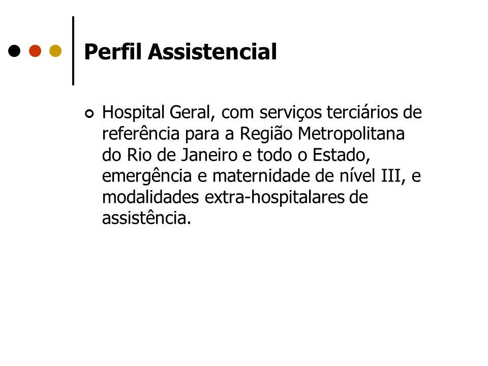 Perfil Assistencial Hospital Geral, com serviços terciários de referência para a Região Metropolitana do Rio de Janeiro e todo o Estado, emergência e