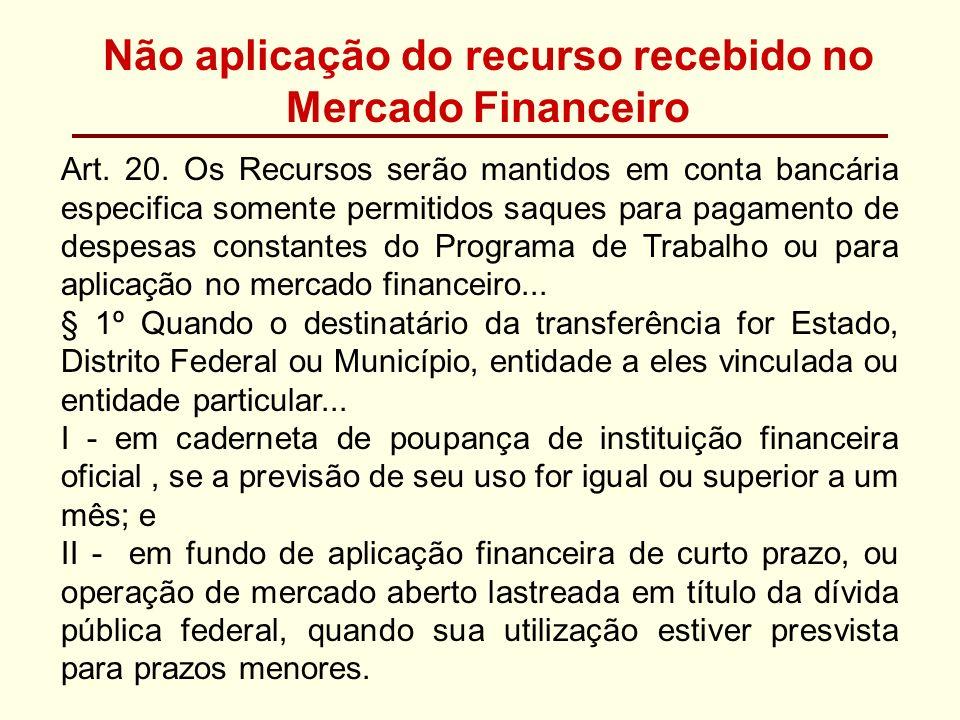 Não aplicação do recurso recebido no Mercado Financeiro Art. 20. Os Recursos serão mantidos em conta bancária especifica somente permitidos saques par