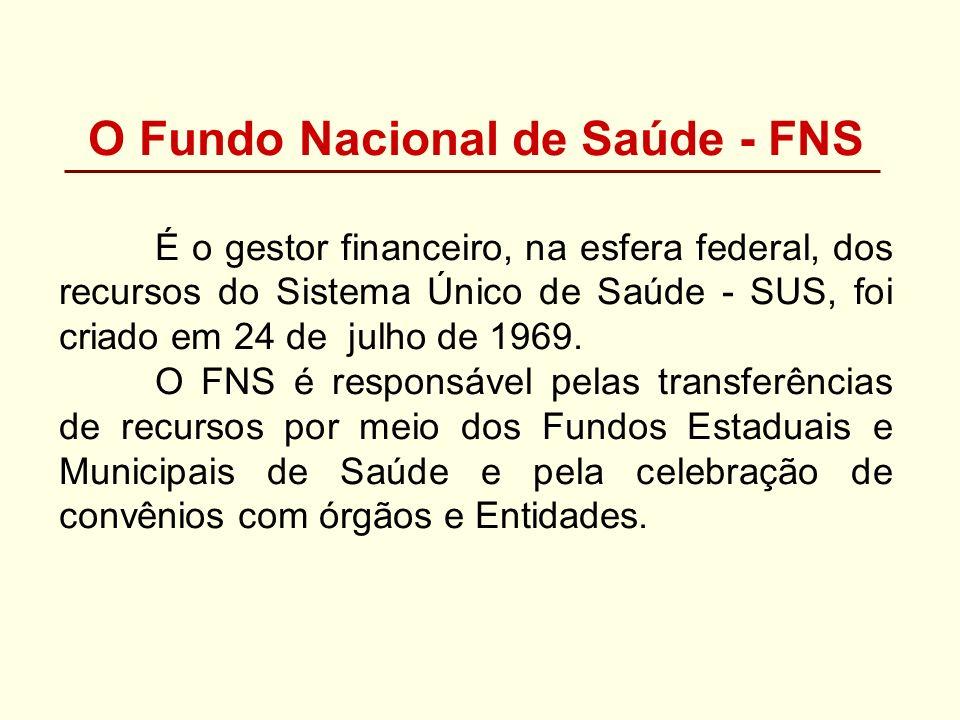 O Fundo Nacional de Saúde - FNS É o gestor financeiro, na esfera federal, dos recursos do Sistema Único de Saúde - SUS, foi criado em 24 de julho de 1