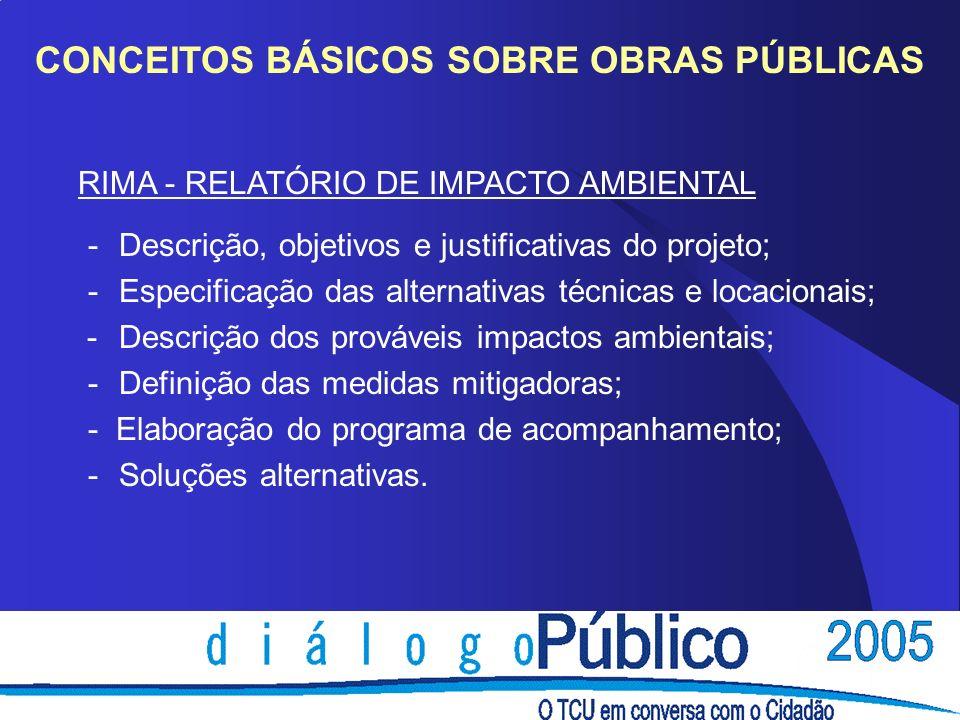 CONCEITOS BÁSICOS SOBRE OBRAS PÚBLICAS RIMA - RELATÓRIO DE IMPACTO AMBIENTAL - Descrição, objetivos e justificativas do projeto; - Especificação das a
