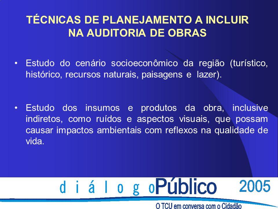 TÉCNICAS DE PLANEJAMENTO A INCLUIR NA AUDITORIA DE OBRAS Estudo do cenário socioeconômico da região (turístico, histórico, recursos naturais, paisagen