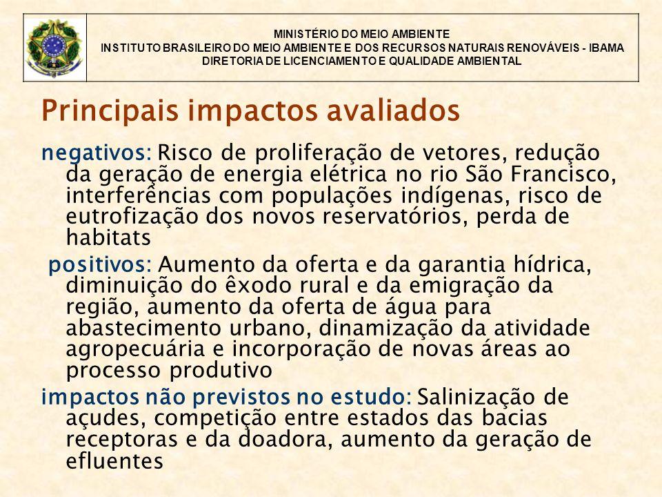 MINISTÉRIO DO MEIO AMBIENTE INSTITUTO BRASILEIRO DO MEIO AMBIENTE E DOS RECURSOS NATURAIS RENOVÁVEIS - IBAMA DIRETORIA DE LICENCIAMENTO E QUALIDADE AMBIENTAL Principais impactos avaliados negativos: Risco de proliferação de vetores, redução da geração de energia elétrica no rio São Francisco, interferências com populações indígenas, risco de eutrofização dos novos reservatórios, perda de habitats positivos: Aumento da oferta e da garantia hídrica, diminuição do êxodo rural e da emigração da região, aumento da oferta de água para abastecimento urbano, dinamização da atividade agropecuária e incorporação de novas áreas ao processo produtivo impactos não previstos no estudo: Salinização de açudes, competição entre estados das bacias receptoras e da doadora, aumento da geração de efluentes