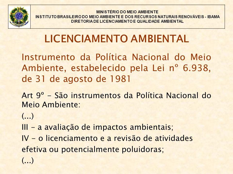 MINISTÉRIO DO MEIO AMBIENTE INSTITUTO BRASILEIRO DO MEIO AMBIENTE E DOS RECURSOS NATURAIS RENOVÁVEIS - IBAMA DIRETORIA DE LICENCIAMENTO E QUALIDADE AMBIENTAL LICENCIAMENTO AMBIENTAL Instrumento da Política Nacional do Meio Ambiente, estabelecido pela Lei nº 6.938, de 31 de agosto de 1981 Art 9º - São instrumentos da Política Nacional do Meio Ambiente: (...) III - a avaliação de impactos ambientais; IV - o licenciamento e a revisão de atividades efetiva ou potencialmente poluidoras; (...)