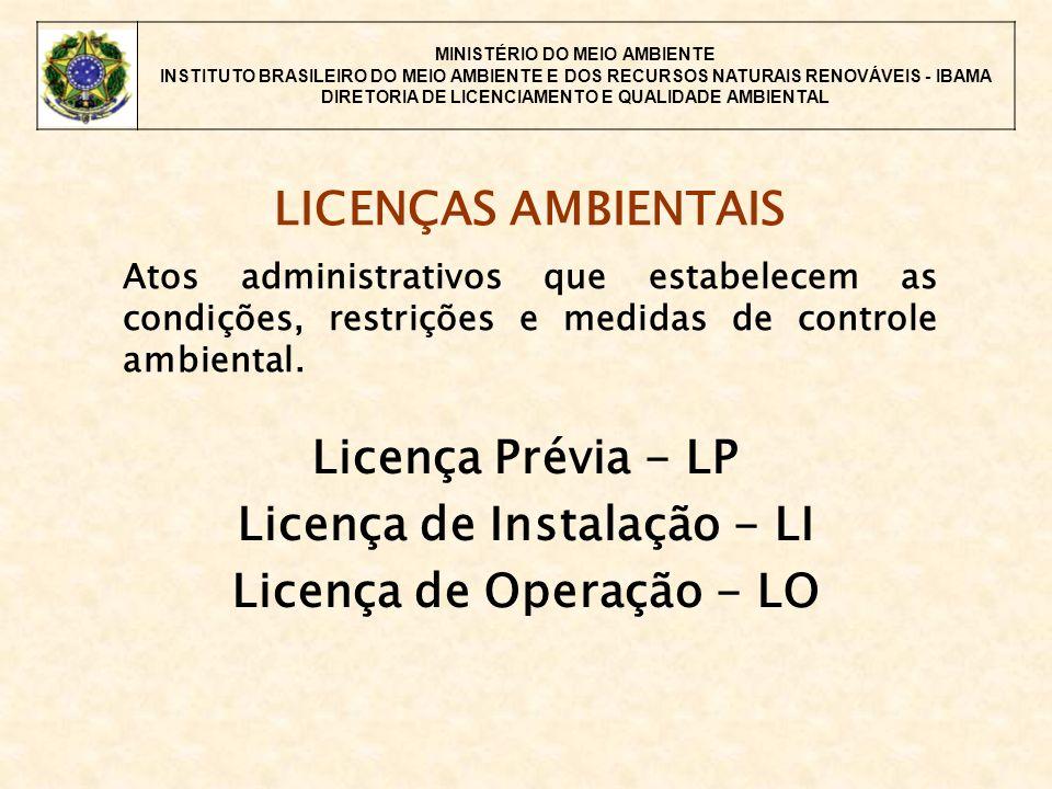 MINISTÉRIO DO MEIO AMBIENTE INSTITUTO BRASILEIRO DO MEIO AMBIENTE E DOS RECURSOS NATURAIS RENOVÁVEIS - IBAMA DIRETORIA DE LICENCIAMENTO E QUALIDADE AMBIENTAL LICENÇAS AMBIENTAIS Atos administrativos que estabelecem as condições, restrições e medidas de controle ambiental.