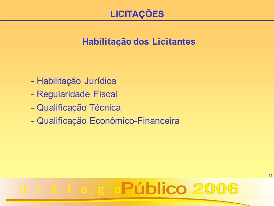 11 Habilitação dos Licitantes - Habilitação Jurídica - Regularidade Fiscal - Qualificação Técnica - Qualificação Econômico-Financeira LICITAÇÕES