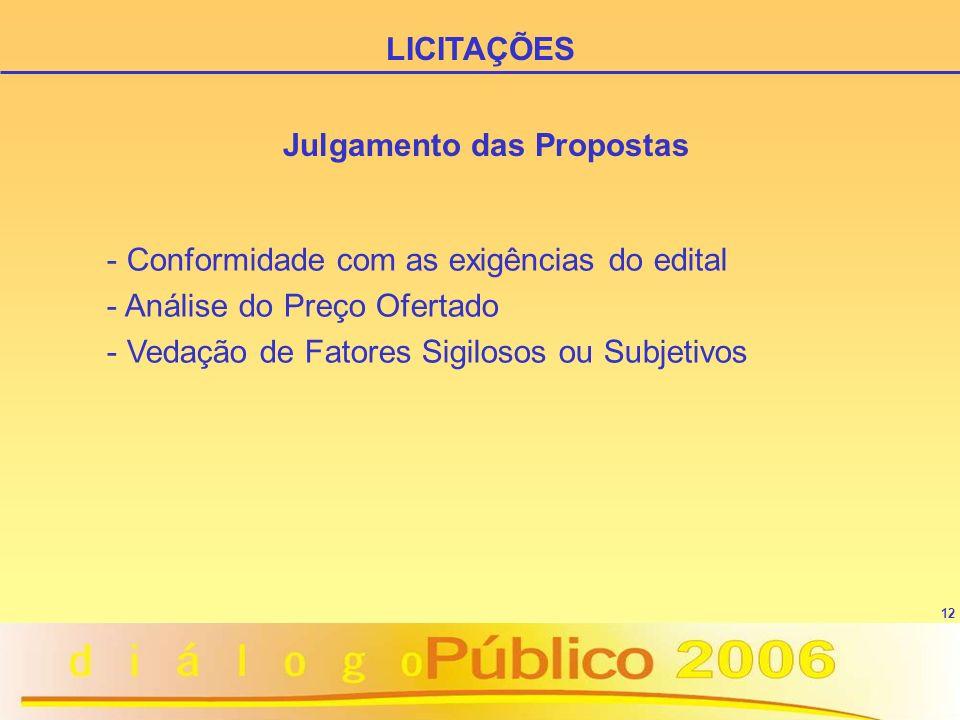 12 Julgamento das Propostas - Conformidade com as exigências do edital - Análise do Preço Ofertado - Vedação de Fatores Sigilosos ou Subjetivos LICITA