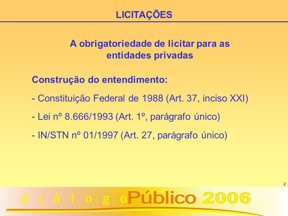 3 - Acórdão 1070/2003 - Plenário - IN/STN nº 03/2003 - Acórdão 353/2005 - Plenário - Decreto Federal nº 5504/2005 LICITAÇÕES A obrigatoriedade de licitar para as entidades privadas