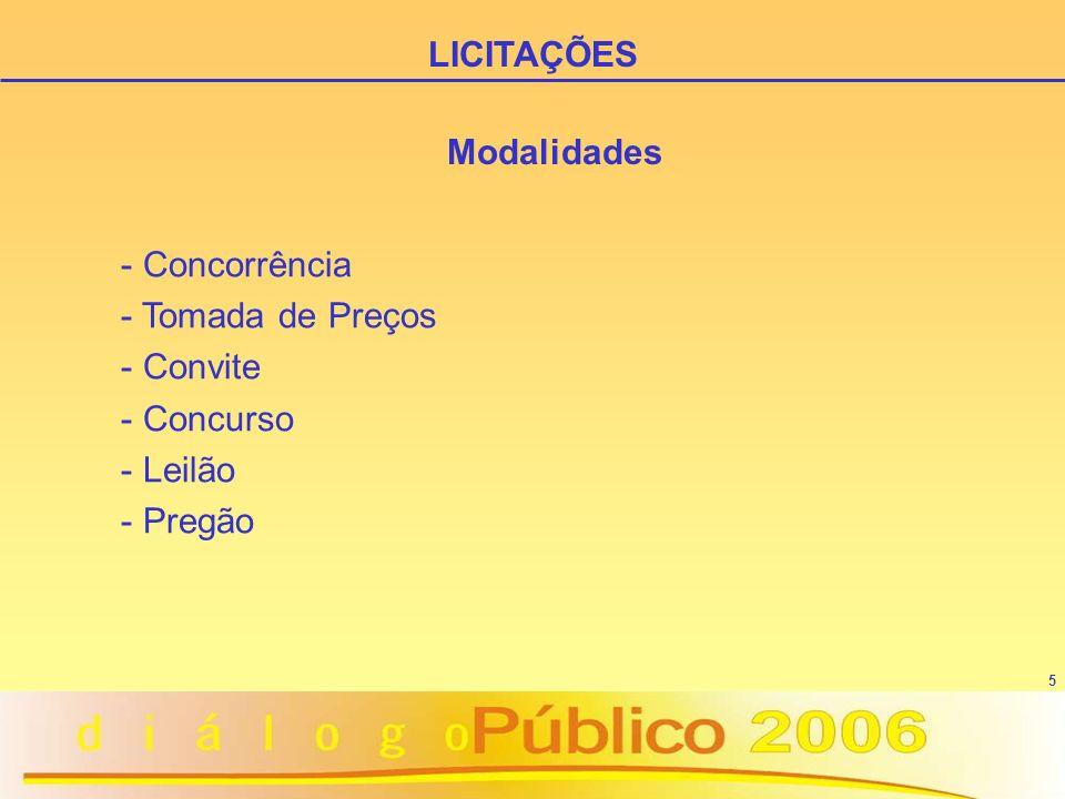 5 Modalidades - Concorrência - Tomada de Preços - Convite - Concurso - Leilão - Pregão LICITAÇÕES