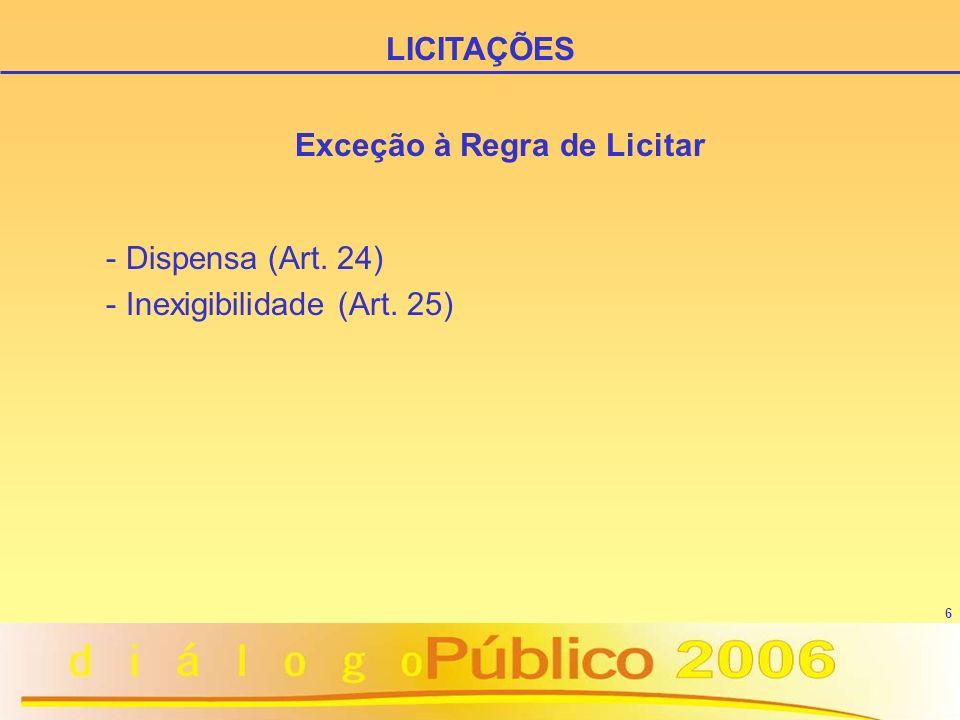 6 Exceção à Regra de Licitar - Dispensa (Art. 24) - Inexigibilidade (Art. 25) LICITAÇÕES