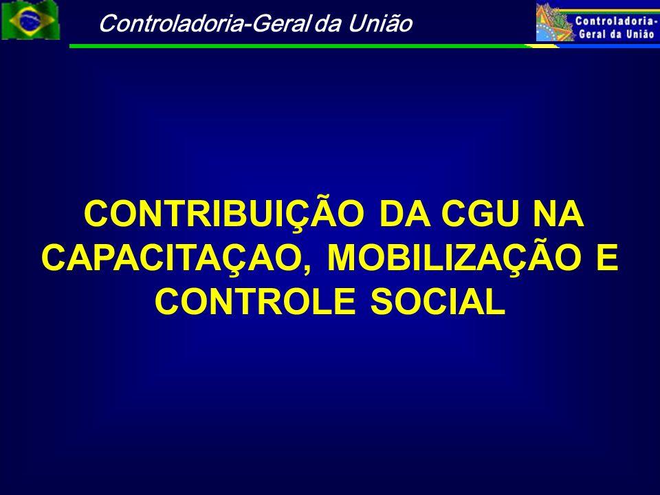 Controladoria-Geral da União CONTRIBUIÇÃO DA CGU NA CAPACITAÇAO, MOBILIZAÇÃO E CONTROLE SOCIAL