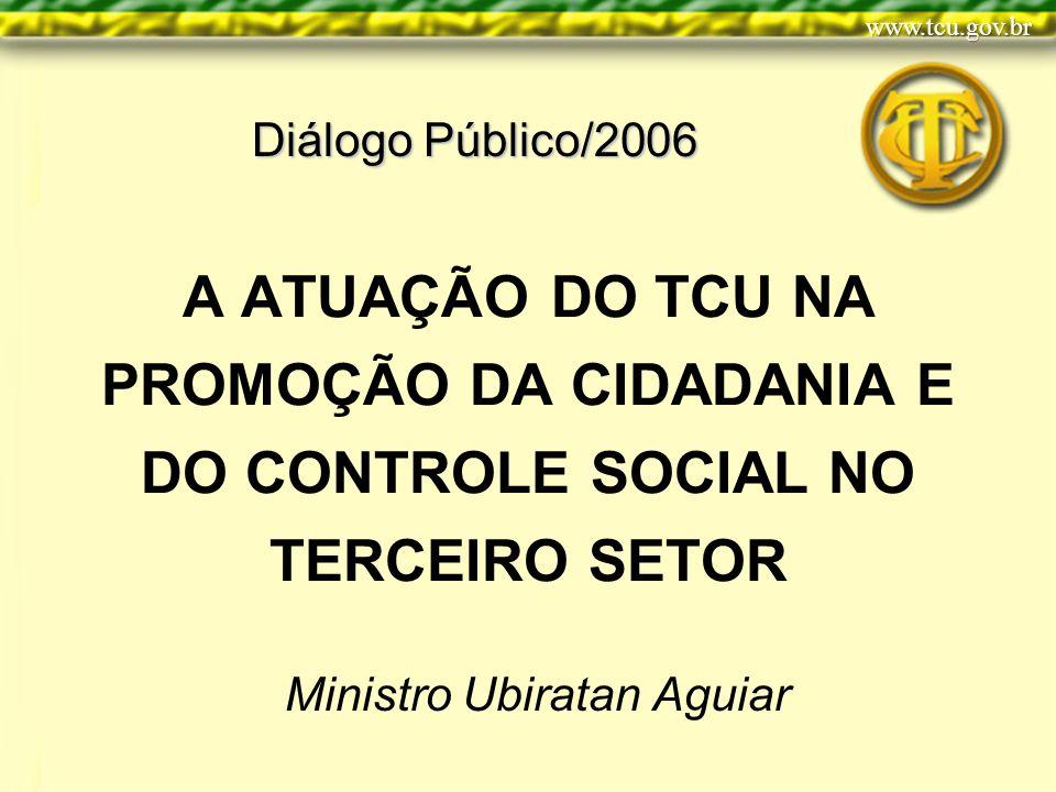 A ATUAÇÃO DO TCU NA PROMOÇÃO DA CIDADANIA E DO CONTROLE SOCIAL NO TERCEIRO SETOR Ministro Ubiratan Aguiar Diálogo Público/2006