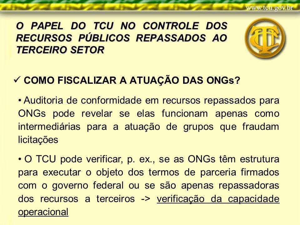 O PAPEL DO TCU NO CONTROLE DOS RECURSOS PÚBLICOS REPASSADOS AO TERCEIRO SETOR COMO FISCALIZAR A ATUAÇÃO DAS ONGs.