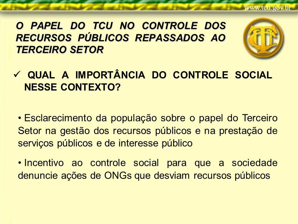 O PAPEL DO TCU NO CONTROLE DOS RECURSOS PÚBLICOS REPASSADOS AO TERCEIRO SETOR QUAL A IMPORTÂNCIA DO CONTROLE SOCIAL NESSE CONTEXTO.