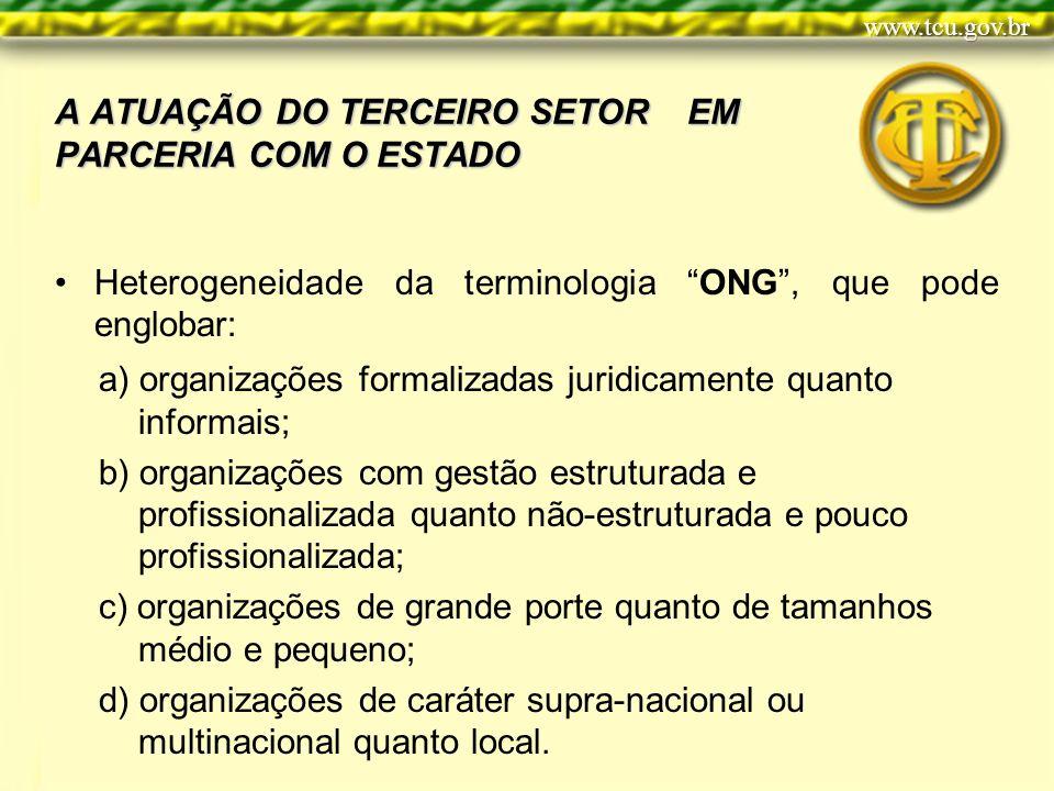 A ATUAÇÃO DO TERCEIRO SETOR EM PARCERIA COM O ESTADO Heterogeneidade da terminologia ONG, que pode englobar: a) organizações formalizadas juridicament