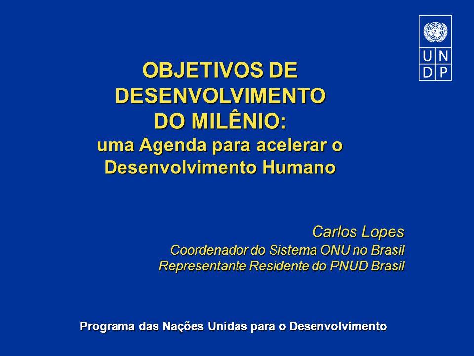 Programa das Nações Unidas para o Desenvolvimento OBJETIVOS DE DESENVOLVIMENTO DO MILÊNIO: uma Agenda para acelerar o Desenvolvimento Humano Carlos Lo