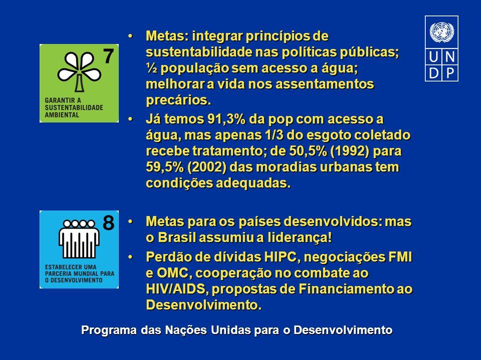 Programa das Nações Unidas para o Desenvolvimento Metas: integrar princípios de sustentabilidade nas políticas públicas; ½ população sem acesso a água