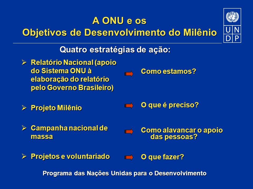 Programa das Nações Unidas para o Desenvolvimento A ONU e os Objetivos de Desenvolvimento do Milênio Relatório Nacional (apoio do Sistema ONU à elabor