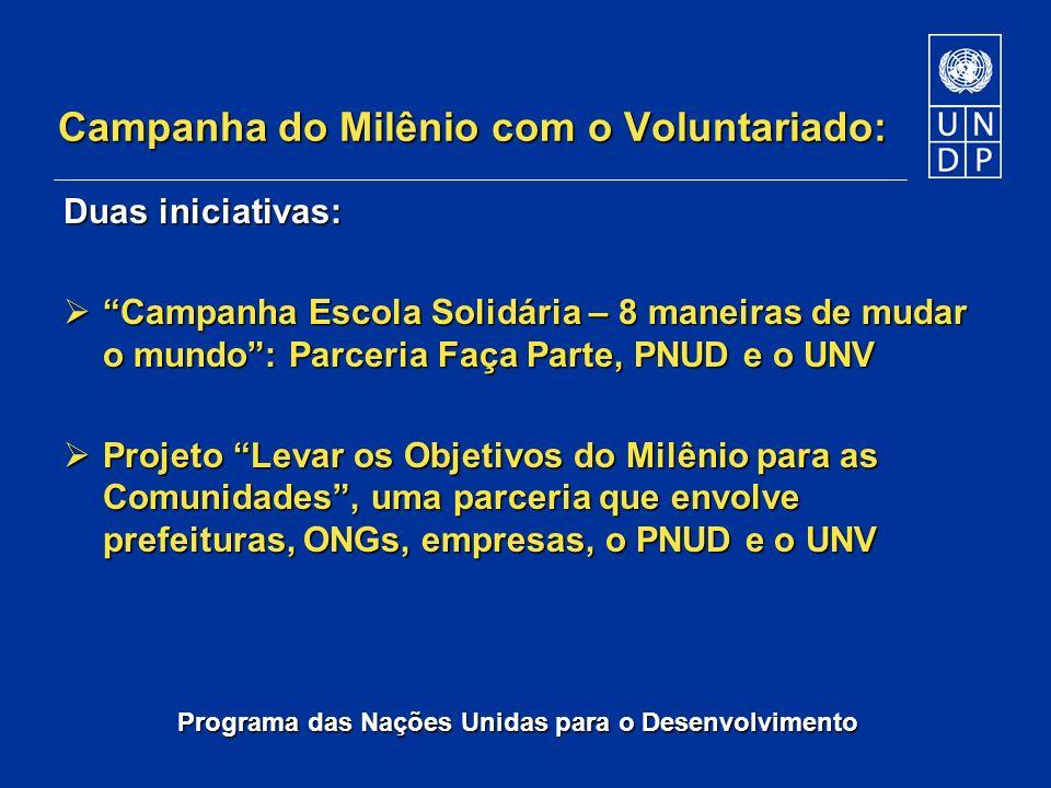 Programa das Nações Unidas para o Desenvolvimento Campanha do Milênio com o Voluntariado: Duas iniciativas: Campanha Escola Solidária – 8 maneiras de
