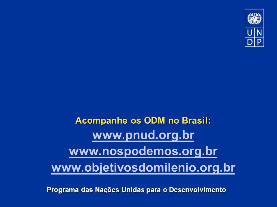 Programa das Nações Unidas para o Desenvolvimento Acompanhe os ODM no Brasil: www.pnud.org.br www.nospodemos.org.br www.objetivosdomilenio.org.br